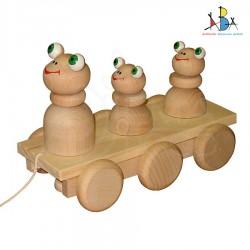 """Järelveetav puidust mänguasi """"Three Frogs  Natural Wood"""""""