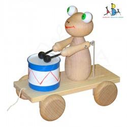 """Järel veetav mänguasi trummiga """"Frog 2 Natural Wood"""""""