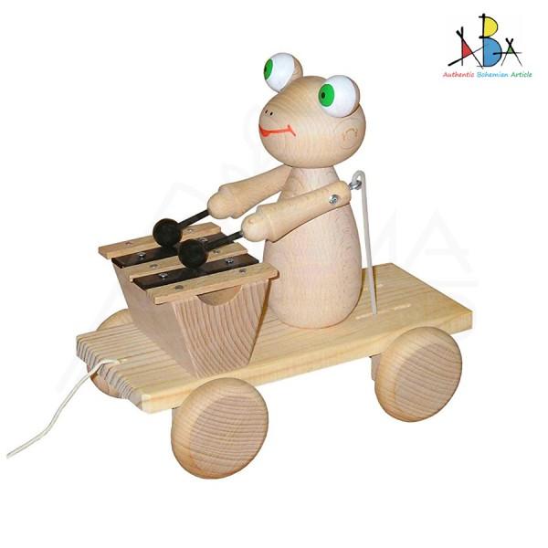 """Järelveetav puidust mänguasi ksülofoniga """"Frog Natural Wood"""""""