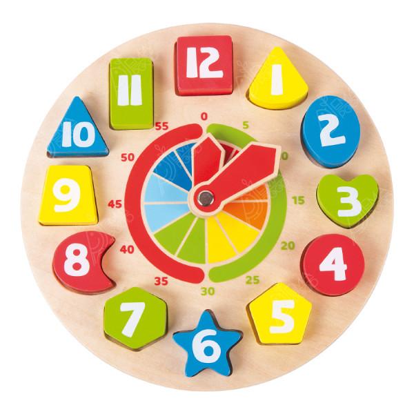 """Puidust arendav mänguasi """"Shapes Clock"""""""